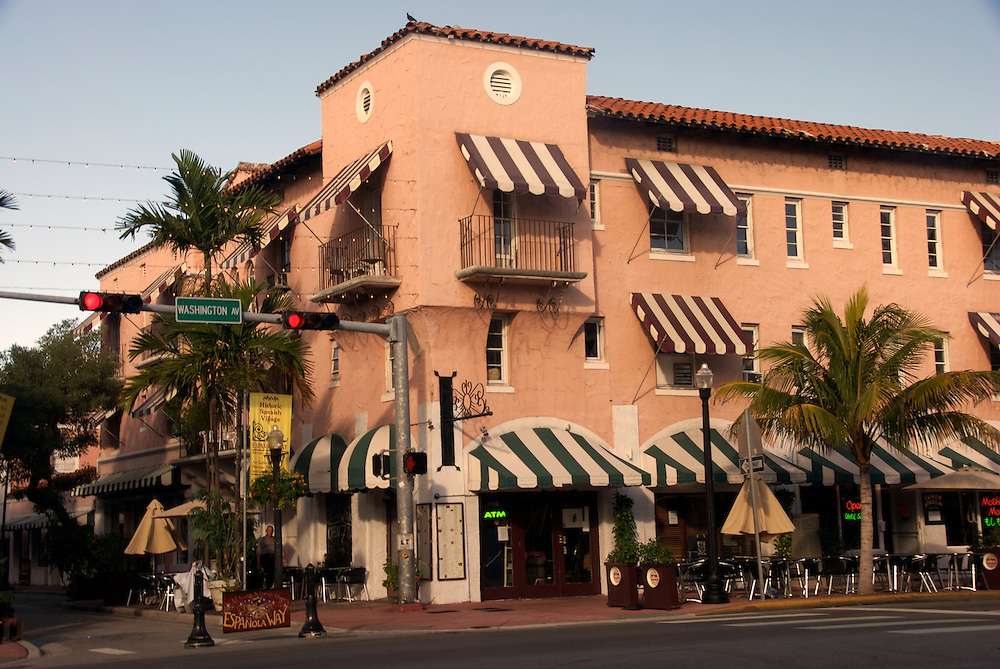 Main entrance for Espan?ola way in Miami Beach, the area is a landmark in Miami Beach and the construction resembles a spanish village.
