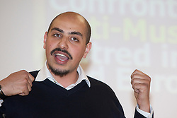 """© under licence to London News Pictures. LONDON, 21/05/2011. Marwan Muhammad of the Collective Against Islamophobia in France speaking at conference """"Confronting Anti-Muslim Hatred in Britain and Europe"""". London Muslim Centre. Photo credit should read BETTINA STRENSKE/LNP"""