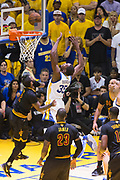 Cleveland Cavaliers guard Kyrie Irving (2) fouls Golden State Warriors forward Kevin Durant (35) during a lay up attempt during Game 5 of the NBA Finals at Oracle Arena in Oakland, Calif., on June 12, 2017. (Stan Olszewski/Special to S.F. Examiner)