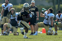 July 28, 2018 - Metairie, LA, U.S. - METAIRIE, LA. - JULY 28:  New Orleans Saints running back Terrance West (38) runs through a drill during New Orleans Saints training camp practice on July 28, 2018 at the Ochsner Sports Performance Center in New Orleans, LA.  (Photo by Stephen Lew/Icon Sportswire) (Credit Image: © Stephen Lew/Icon SMI via ZUMA Press)