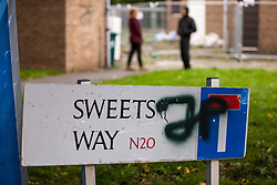 A sign indicates the Sweets Way housing estate on 23rd September 2015 in London, United Kingdom. A group of housing activists calling for better social housing provision in London had occupied some of the properties on the 142-home estate in Whetstone, in some cases refurbishing properties intentionally destroyed by the legal owners following eviction of the original residents, in order to try to prevent the eviction of the last resident on the estate and the planned demolition and redevelopment of the entire estate by Barnet Council and Annington Property Ltd.