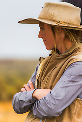 Working cowgirl, Allison Moss from Hammer Idaho