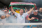 Karpatalya fans. Karpatalya (RED) beat Northern Cyprus (WHITE) 3 -2 in penalties during the Conifa Paddy Power World Football Cup finals on the 9th June 2018 at Queen Elizabeth II Stadium in Enfield Town in the United Kingdom. Team mates from the Turkish Republic of Northern Cyprus  take on the Hungarians in Ukraine for the CONIFA World Football Cup final. CONIFA is an international football tournament organised by CONIFA, an umbrella association for states, minorities, stateless peoples and regions unaffiliated with FIFA. (photo by Sam Mellish / In Pictures via Getty Images)