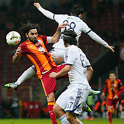 Galatasaray's Selcuk Inan (L) during their Turkish Super League soccer match Galatasaray between Kasimpasaspor at the TT Arena at Seyrantepe in Istanbul Turkey on Friday, 31 October 2014. Photo by Kurtulus YILMAZ/TURKPIX