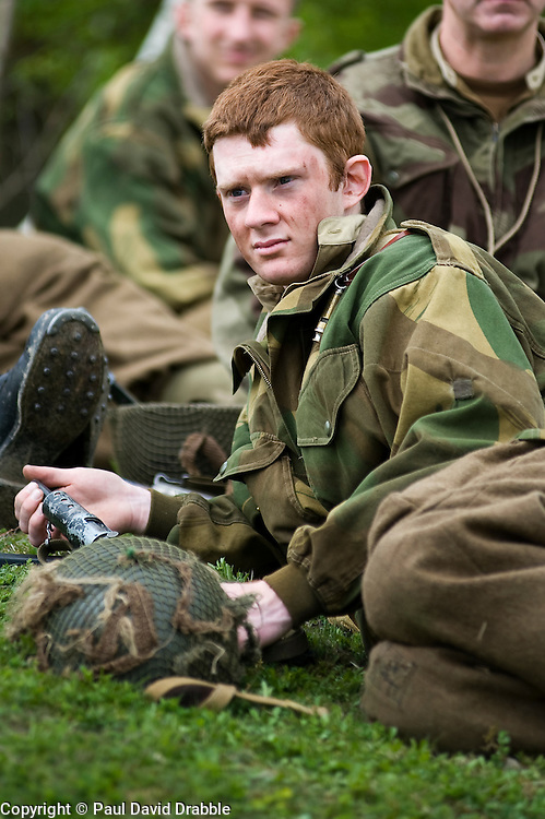 Reenactors from Northern World War Two Association, portraying the 6th Airborne Division 22nd Independent Company stop for a break during a private 24hr excerise, held at Sutton Grange, near Ripon in Yorkshire 15  May 2010 .Images © Paul David Drabble