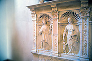 A mediaeval frieze at the Galeria Regionale di Palazzo Bellomo, Ortigia, Sicily, Italy<br /> The museum is located in the prestigious 12th century Palazzo Bellomo. The palace was finally sold in 1901 to the Administration of Antiquities and Fine Arts to designate it as a Museum.