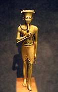 Statuette of Amun.  Third Intermediate Period (ca 1070-664 B.C.) Gold.