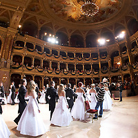 0802020260c Dress rehearsal of the 13th Budapest Opera Ball held at Opera House involving 50 couples of debutantes performing the opening waltz. Budapest, Hungary. Saturday, 02. February 2008. ATTILA VOLGYI