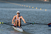 Plovdiv BULGARIA. 2017 FISA. Rowing World U23 Championships. <br /> USA.BLM1X. FRANCIS, James.<br /> Wednesday. PM,  Heats 17:37:09  Wednesday  19.07.17   <br /> <br /> [Mandatory Credit. Peter SPURRIER/Intersport Images].