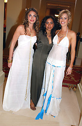 Left to right, LAURE DE CLERMONT-TONNERRE, fashion designer SYBIL STANISLAUS and CAROLINE HABIB  at a fashion show of Sybil Stanislaus Summer 2005 collection with jewellery by Philippa Holland held at The Lanesborough Hotel, Hyde Park Corner, London on 13th April 2005.<br /><br />NON EXCLUSIVE - WORLD RIGHTS