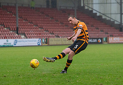 Alloa Athletic's Andy Graham scores their last penalty. Dunfermline 2 v 2 Alloa Athletic. Alloa win on penalties. Irn Bru cup game played 13/10/2018 at Dunfermline's home ground, East End Park.