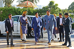 December 18, 2018 - Jaipur, Rajasthan, India - Akash Ambani (C), son of Mumbai Indians co-owner Nita Ambani, arrives for the Indian Premier League 2019 auction in Jaipur on December 18, 2018, as teams prepare their player rosters ahead of the upcoming Twenty20 cricket tournament next year. The 2019 edition of the IPL -- one of the world's most-watched sporting events attracting the world's top stars -- is set to take place in April and May next year.(Photo By Vishal Bhatnagar/NurPhoto) (Credit Image: © Vishal Bhatnagar/NurPhoto via ZUMA Press)