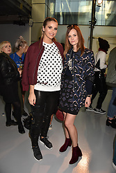 Left to right, Vogue Williams and Charlotte de Carle at the LFW Sponge Bob Gold presentation at The Atrium, The Store Studios, 180 The Strand, London England. 18 February 2017.