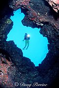 chimney opens to surface from underwater catacomb of lava tubes, The Caverns, aka Sheraton Caverns, Poipu, Kauai, Hawaii, USA ( Pacific ) MR 290