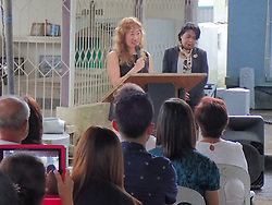 August 15, 2017 - Davao City, Philippines - Tomoko Dodo, Japanese Consul in Davao delivering her message to Filipinos with Japanese descendants during the Ireisai commemoration. Hundreds of second and third generation Filipinos with Pre-World War 2 Japanese descendants in Davao City commemorates 'Ireisai' or 'Memorial Service' to their departed loved ones who are resting in peace in Mintal Cemetery in Davao. Mintal village is the little Tokyo of pre-war Davao where Japanese community contributes in the cityhood of Davao thru the abaca industry that the Japanese helped to flourish. (Credit Image: © Sherbien Dacalanio/Pacific Press via ZUMA Wire)