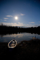 Canoe and dock located in interior BC, Canada.