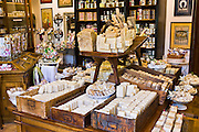 Artisan soaps on sale at Martin de Candre specialist savon shop Mestre at Fontevraud L'Abbaye, Loire Valley, France