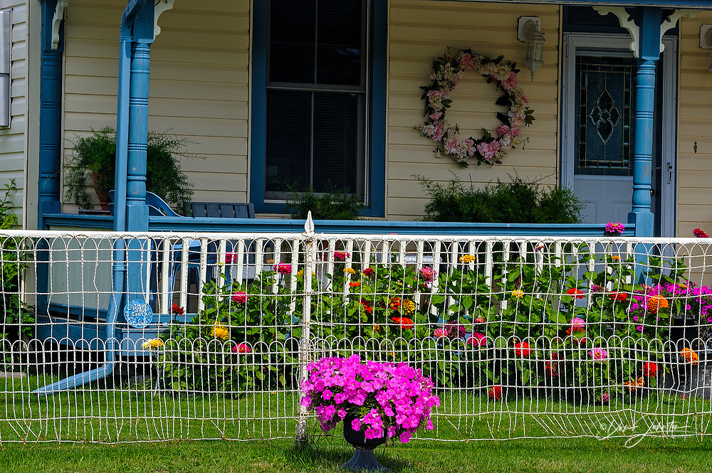 Bed and Breakfast building with flower gardens, Killarney, Ontario, Canada