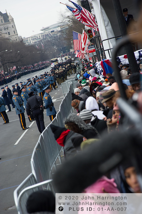 Police lining the parade route of the 57th Presidential Inauguration of President Barack Obama at the U.S. Capitol Building in Washington, DC January 21, 2013.