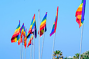 Gay rainbow flag with a blue sky background
