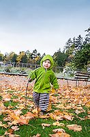 Toddler explores park with stick in hand on an autumn day in Vancouver, Canada.