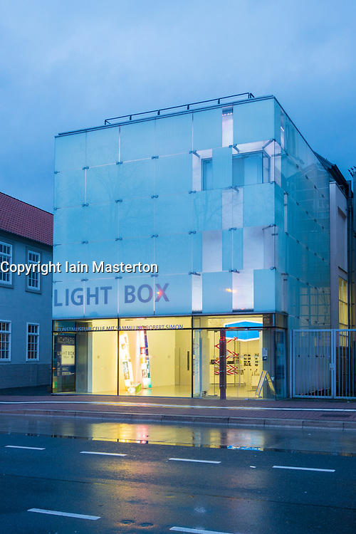 Exterior of the Light Box modern art museum at night at Bomann Museum in Celle, lower Saxony, Germany