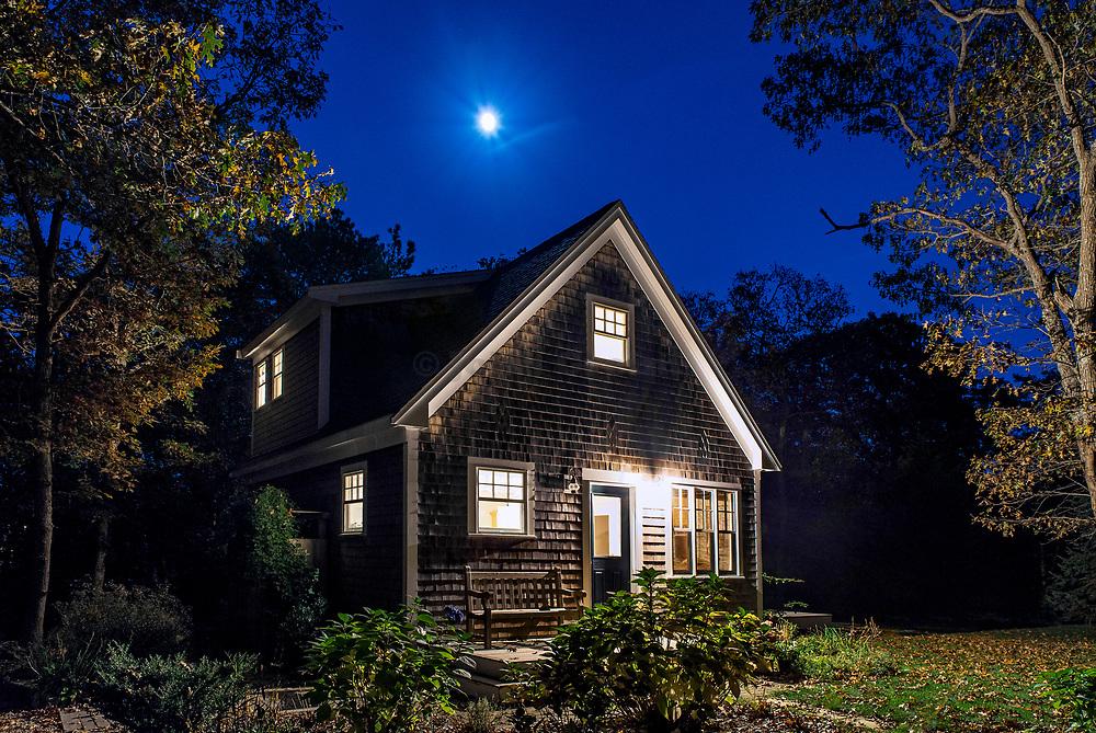 Cozy bungalow at night., Martha's Vineyard, Massachusetts, USA.