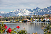 Rancho Santa Margarita Lake with Snow on the Santiago Peak Mountains