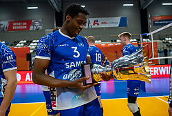 Jerome Cross of Lycurgus celebrate after the cup final between Amysoft Lycurgus vs. Draisma Dynamo on April 18, 2021 in sports hall Alfa College in Groningen