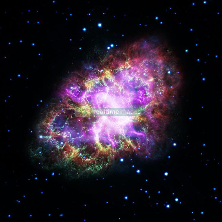 """Astronomers have produced a highly detailed image of the Crab Nebula, by combining data from telescopes spanning nearly the entire breadth of the electromagnetic spectrum, from radio waves seen by the Karl G. Jansky Very Large Array (VLA) to the powerful X-ray glow as seen by the orbiting Chandra X-ray Observatory. And, in between that range of wavelengths, the Hubble Space Telescope's crisp visible-light view, and the infrared perspective of the Spitzer Space Telescope.The Crab Nebula, the result of a bright supernova explosion seen by Chinese and other astronomers in the year 1054, is 6,500 light-years from Earth. At its center is a super-dense neutron star, rotating once every 33 milliseconds, shooting out rotating lighthouse-like beams of radio waves and light -- a pulsar (the bright dot at image center). The nebula's intricate shape is caused by a complex interplay of the pulsar, a fast-moving wind of particles coming from the pulsar, and material originally ejected by the supernova explosion and by the star itself before the explosion.This image combines data from five different telescopes: The VLA (radio) in red; Spitzer Space Telescope (infrared) in yellow; Hubble Space Telescope (visible) in green; XMM-Newton (ultraviolet) in blue; and Chandra X-ray Observatory (X-ray) in purple.The new VLA, Hubble, and Chandra observations all were made at nearly the same time in November of 2012. A team of scientists led by Gloria Dubner of the Institute of Astronomy and Physics (IAFE), the National Council of Scientific Research (CONICET), and the University of Buenos Aires in Argentina then made a thorough analysis of the newly revealed details in a quest to gain new insights into the complex physics of the object. They are reporting their findings in the Astrophysical Journal.""""Comparing these new images, made at different wavelengths, is providing us with a wealth of new detail about the Crab Nebula. Though the Crab has been studied extensively for years, we still have"""