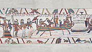 Bayeux Tapestry scene 4: Harold boards his ship to sail across the Channel to Normandy.  BYX4 .<br /> <br /> If you prefer you can also buy from our ALAMY PHOTO LIBRARY  Collection visit : https://www.alamy.com/portfolio/paul-williams-funkystock/bayeux-tapestry-medieval-art.html  if you know the scene number you want enter BXY followed bt the scene no into the SEARCH WITHIN GALLERY box  i.e BYX 22 for scene 22)<br /> <br />  Visit our MEDIEVAL ART PHOTO COLLECTIONS for more   photos  to download or buy as prints https://funkystock.photoshelter.com/gallery-collection/Medieval-Middle-Ages-Art-Artefacts-Antiquities-Pictures-Images-of/C0000YpKXiAHnG2k