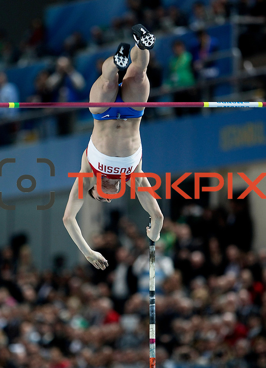 Yelena Isinbaeva of Russia competes during the Women's Pole Vault Final during the IAAF World Indoor Championships at the Atakoy Athletics Arena, Istanbul, Turkey. Photo by TURKPIX