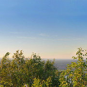 "Extra long panorama of Volga river from the Strelnaya hill of Zhiguli mountains. The territory of the National Park ""Samara Luka"""