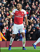 Football - 2018 / 2019 Premier League - Arsenal vs. Burnley<br /> <br /> Pierre - Emerick Aubameyang of Arsenal celebrates scoring the second of his two goals past Joe Hart, at The Emirates.<br /> <br /> COLORSPORT/ANDREW COWIE