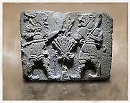 Picture & image of a Neo-Hittite orthostat with a releif sculpture of Lion Men  from Aslantepe ,  Malatya, Turkey. Museum of Anatolian Civilisations, Ankara.<br /> <br /> If you prefer to buy from our ALAMY STOCK LIBRARY page at https://www.alamy.com/portfolio/paul-williams-funkystock/hittite-art-antiquities.html . Type - Aslantepe - in LOWER SEARCH WITHIN GALLERY box. Refine search by adding background colour, place, museum etc.<br /> <br /> Visit our HITTITE PHOTO COLLECTIONS for more photos to download or buy as wall art prints https://funkystock.photoshelter.com/gallery-collection/The-Hittites-Art-Artefacts-Antiquities-Historic-Sites-Pictures-Images-of/C0000NUBSMhSc3Oo