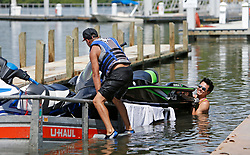 Christian Centeno, left and Kevin Wu pull out their jet ski from the Haulover Marine Center on Wednesday, September 6, 2017 in Miami Beach, FL, USA. as they prepare for Hurricane Irma. Photo by David Santiago/Miami Herald/TNS/ABACAPRESS.COM