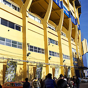 A tour group arrives at Boca Juniors football stadium, La Bombonera, in La Boca region of Buenos Aires, Argentina, 25th June 2010. Photo Tim Clayton..