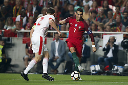 October 10, 2017 - Lisbon, Portugal - Portugal's forward Cristiano Ronaldo  (R) vies for the ball with Switzerland's defender Stephan Lichtsteiner (L)  during the FIFA World Cup WC 2018 football qualifier match between Portugal and Switzerland, in Lisbon, on October 10, 2017. (Credit Image: © Carlos Palma/NurPhoto via ZUMA Press)