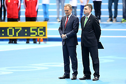 07.03.2014, Ergo Arena, Sopot, POL, IAAF, Leichtathletik Indoor WM, Sopot 2014, Tag 1, im Bild DONALD TUSK JACEK KARNOWSKI // DONALD TUSK JACEK KARNOWSKI during day one of IAAF World Indoor Championships Sopot 2014 at the Ergo Arena in Sopot, Poland on 2014/03/07. EXPA Pictures © 2014, PhotoCredit: EXPA/ Newspix/ Piotr Matusewicz<br /> <br /> *****ATTENTION - for AUT, SLO, CRO, SRB, BIH, MAZ, TUR, SUI, SWE only*****