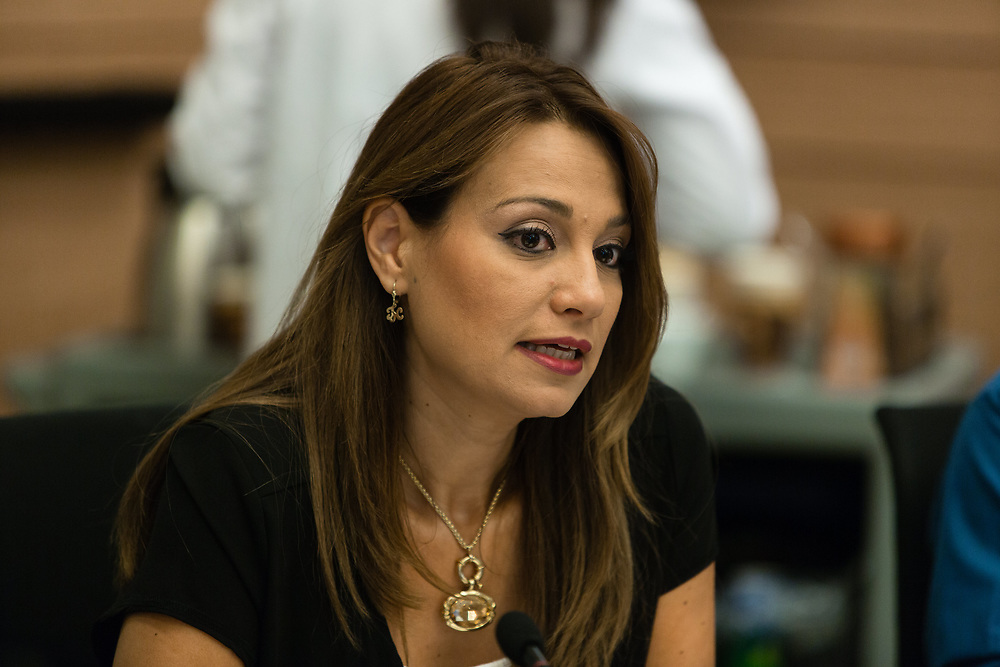 Israeli lawmaker, Member of the Knesset Yifat Shasha-Biton  at the Knesset, Israel's parliament in Jerusalem, on July 1, 2015.