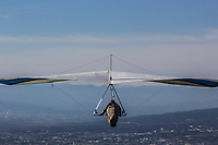 Japanese Hang Gliding  - One of the more popular spots for hang gliding is in the Izu Peninsula south of Mount Fuji, where wind conditions are idea and the terrain is hilly with flat valleys for safe landings.  Plus, the backdrop view of Mt Fuji is an extra plus.  Hang gliding is a recreational activity using an air glider made of aluminum or composite frames covered with lightweight sailcloth which forms a birdlike wing. The hang glider will use a harness suspended from the frame, and controls the glider by shifting body weight in opposition to the frame.  With improved methods and hang gliders pilots can drift and soar for hours, gain thousands of feet of altitude using updrafts, perform aerobatics, and glide cross-country.   Because of the poor safety record of early hang gliders, the sport has long been considered to be unsafe but advances in training and glider construction have led to a much better safety record thanks to being built using sturdy materials plus modern gliders now have built-in dive recovery mechanisms. Pilots carry parachutes enclosed in their harnesses in case of serious problems.  Pilots also wear helmets.  Therefore, the accident rate from hang glider flying has been dramatically decreased by pilot training. People in hang gliders wrap themselves in harnesses such as pod harnesses that are put on like a jacket.  The most common method of launching is from a hill on foot with ideal wind conditions.