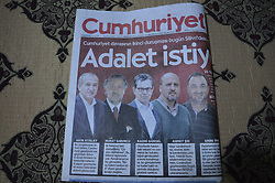 September 11, 2017 - Ankara, Turkey - A copy of Turkey's opposition daily newspaper Cumhuriyet is displayed on the screen in Ankara, Turkey on September 11, 2017 as the daily appears with a headline that reads 'We want justice' on its court day. The trial of daily's executives and employees resume in Istanbul on September 11 as they are being tried on terror accusations. (Credit Image: © Altan Gocher/NurPhoto via ZUMA Press)