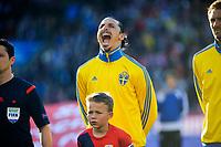 Fotball , Privatlandskamp <br /> Mandag 8. Juni 2015 , 20150608<br /> Norge - Sverige<br /> Zlatan Ibrahimovic drar en grimase før kamp<br /> Foto: Sjur Stølen / Digitalsport