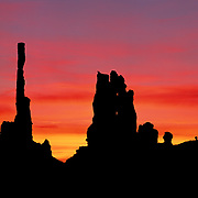Fiery sunrise in Monument Valley Tribal Park on the Navajo Reservation, AZ.