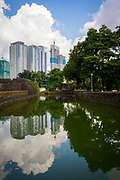 A view of the Manila skyline behind the Pasig River in Intramuros, Manila, Metro Manila, Philippines.  (photo by Andrew Aitchison / In pictures via Getty Images)