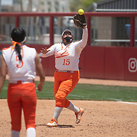 Gallup first baseman Katelyn Pablo catches a fly ball during their NMAA Class 4A Softball State Championship game against the Artesia Bulldogs Saturday in Albuquerque.