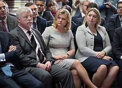 © Licensed to London News Pictures. 30/06/2016. London, UK. Theresa May launches her Conservative party leadership bid watched by Falklands hero Simon Weston and International Development, Secretary Justine Greening. Boris Johnson and Michael Gove are expected to launch seperate campaigns later today.Photo credit: Peter Macdiarmid/LNP
