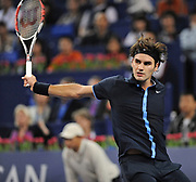 Switzerland's Roger Federer is defeated by Great Britain's Andy Murray 6-4 6-7(3-7) 5-7 during the Tennis Masters Cup in Shanghai, China, on November 14, 2008. The 2008 Tennis Masters Cup is held in Shanghai from November 9 to November 16. Photo by Lucas Schifres/Pictobank
