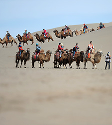 May 3, 2017 - Tourists ride camels at Mingsha Sand Mountain, or the Singing Sand Dunes, in Dunhuang, northwest China's Gansu Province. Mingsha Sand Mountain scenery zone in Dunhuang has attracted numerous tourists recently. (Credit Image: © Chen Bin/Xinhua via ZUMA Wire)
