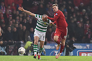 Lewis Ferguson tangles with Scott Brown during the Betfred Cup Final between Celtic and Aberdeen at Hampden Park, Glasgow, United Kingdom on 2 December 2018.